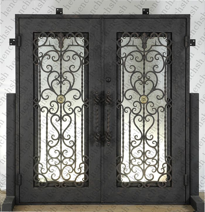 Iron Doors 7 72 X96 Wrought Iron Doors 8mm Clear Glass 12 Gauge Steel 8mm Rain Glass Fixed Ship Wrought Iron Entry Doors Iron Entry Doors Wrought Iron Doors