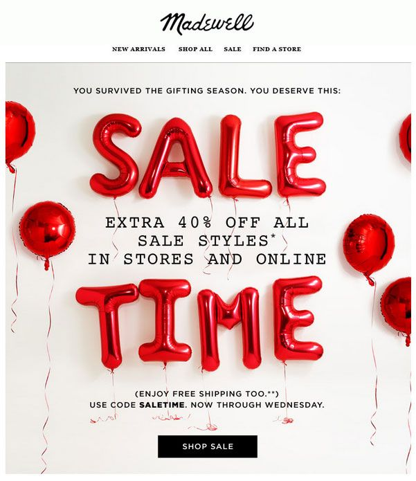 Madewell After-Christmas Sale | Pop graphic | Pinterest | Email ...