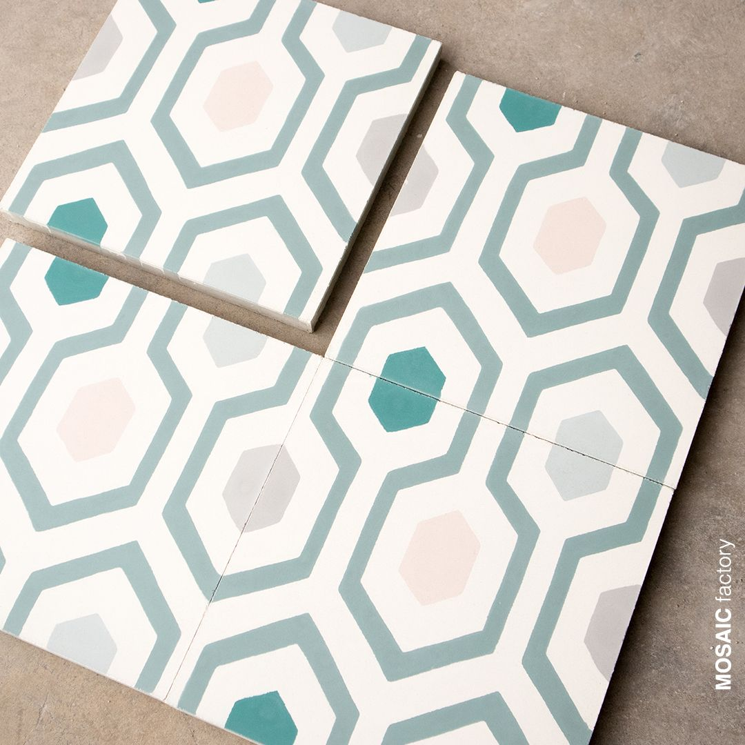 Patterned cement tile in pastel colours from Mosaic del Sur ...