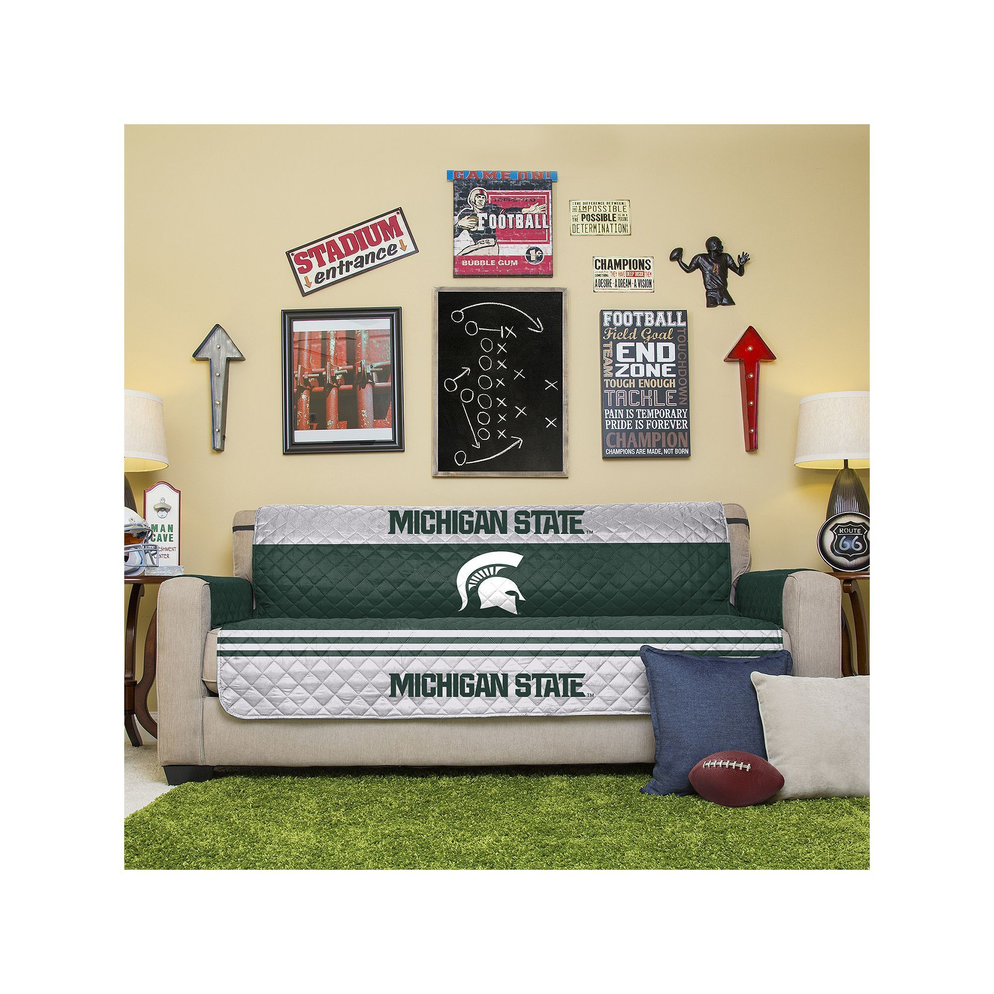 Michigan State Spartans Quilted Sofa Cover Green