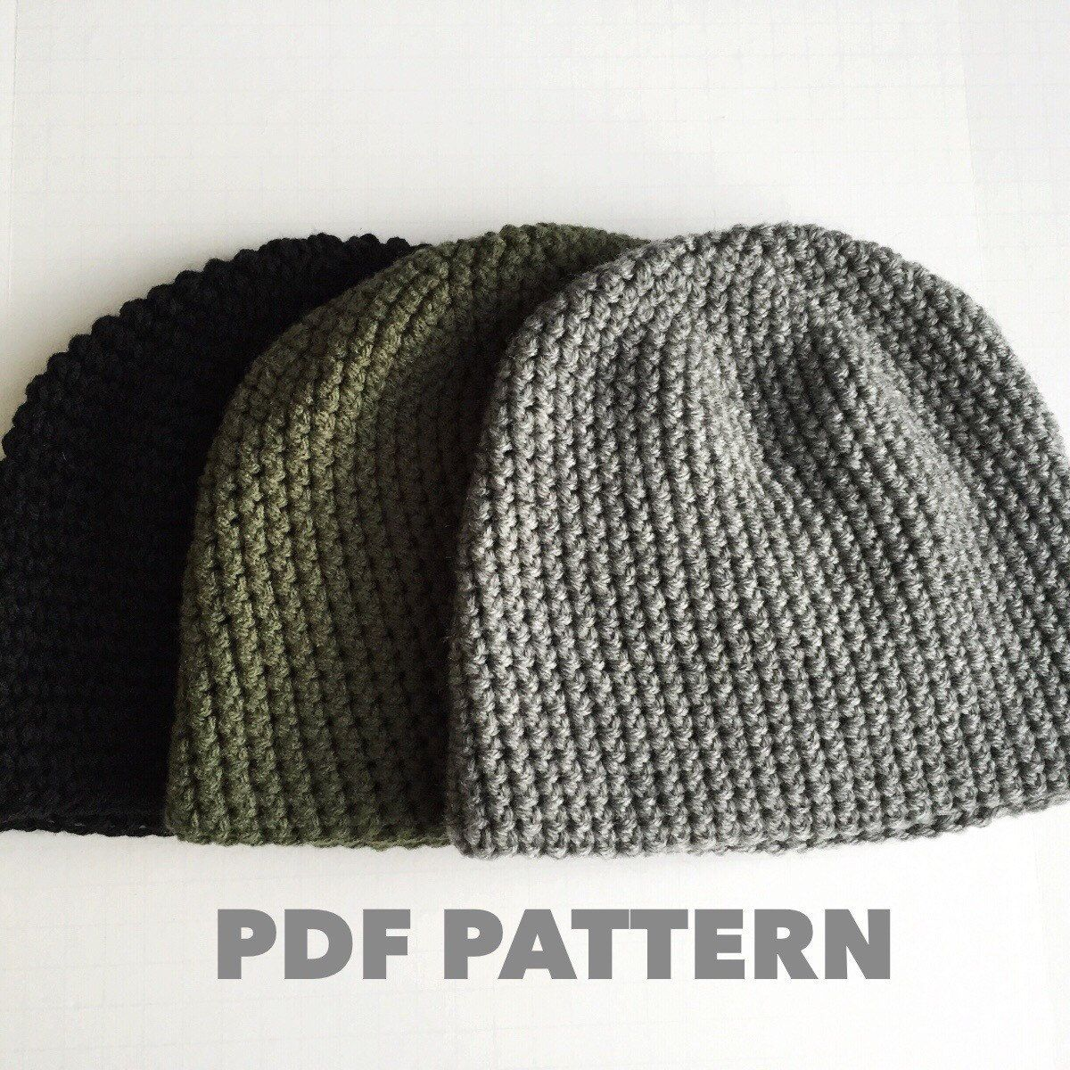 Pattern Mens Easy Hat Crochet Beanie Seamless Simple Basic Classic Crochet  Hat a195d1618d6