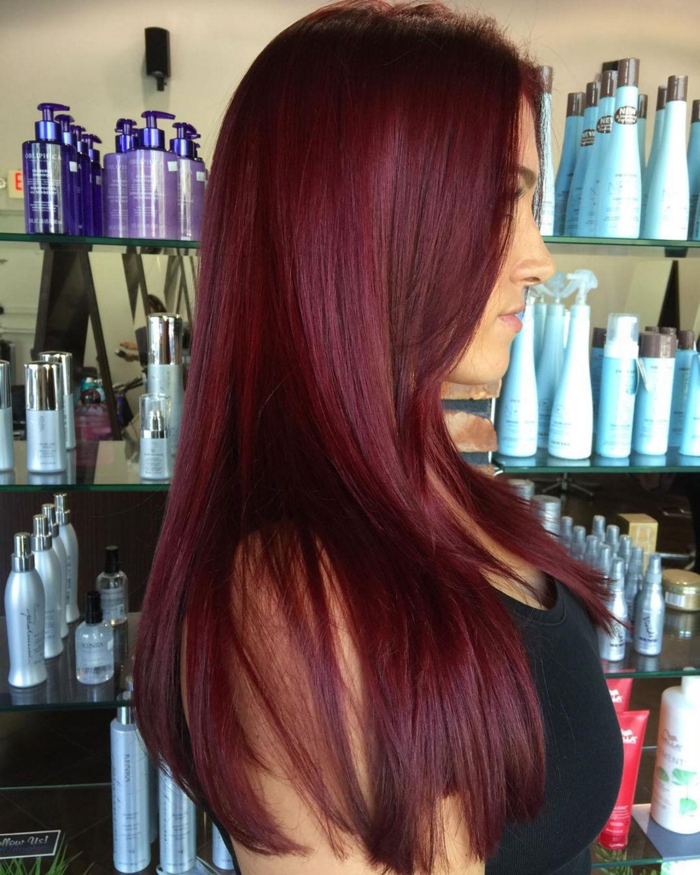 45 Shades of Burgundy Hair: Dark Burgundy, Maroon, Burgundy with Red, Purple and Brown Highlights -   16 plum hair Burgundy ideas