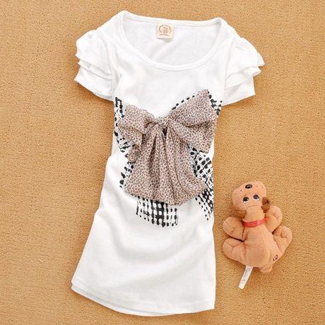 Cute bow short sleeve cotton t-shirt
