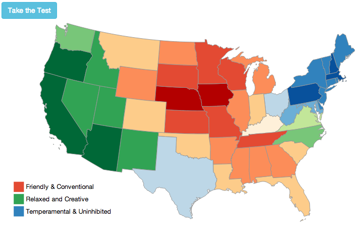 Americas Mood Map An Interactive Guide To The United States Of - Us map highlight south dakota