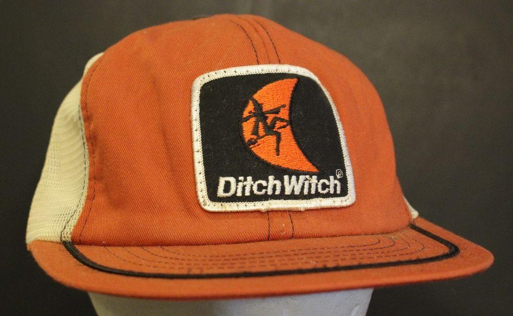 f0def361dd775e Vintage Ditch Witch Trucker Hat Cap Mesh Snapback Hipster USA Made Retro  Orange #Swingster #Trucker