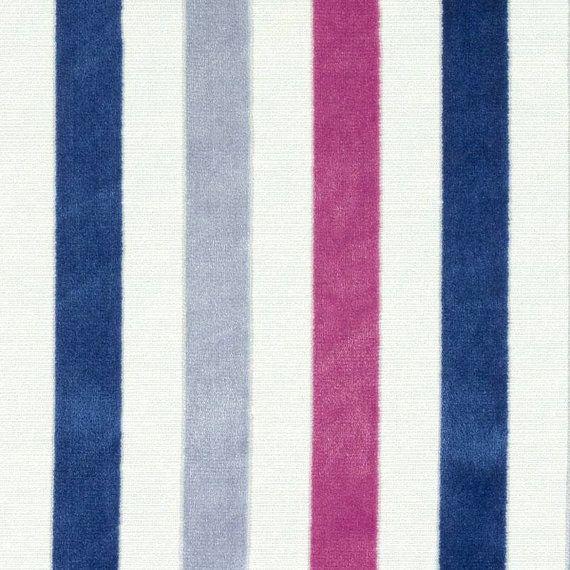 Blue Pink Stripe Velvet Upholstery Fabric By The Yard   Modern Grey And Dark  Pink Velvet Pillow Covers   Custom Velvet Roman Shade