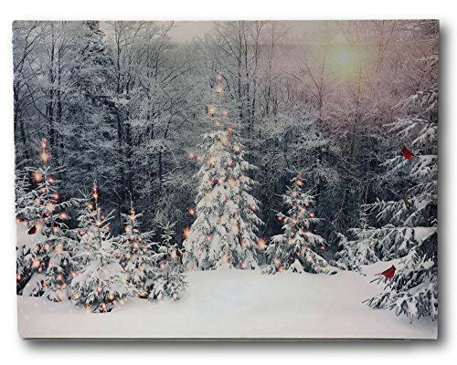 Winter Scene Canvas Print Led Light Up Print With Red Cardinals And Snowy White Christmas Trees 12 X 16 C White Christmas Trees Winter Scenes Canvas Prints