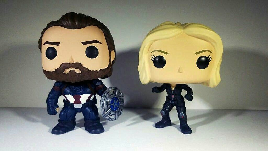 06ef33b3 *gasp* A bearded Captain America and Blonde Black Widow Funko Pop! 😱😱😱