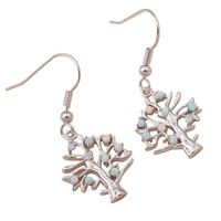 Nouveau style Super fournisseur nouveau prix de gros arbre forme blanc opale de feu 925 Silver Drop boucles d'oreilles mode bijoux OE266