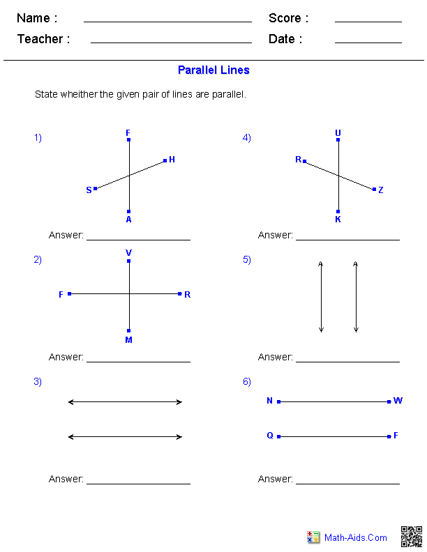 identifying parallel lines worksheets math aids com pinterest worksheets math and. Black Bedroom Furniture Sets. Home Design Ideas