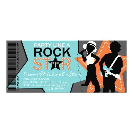 Rock Star Boy Band Birthday Aqua Orange Custom Invitations