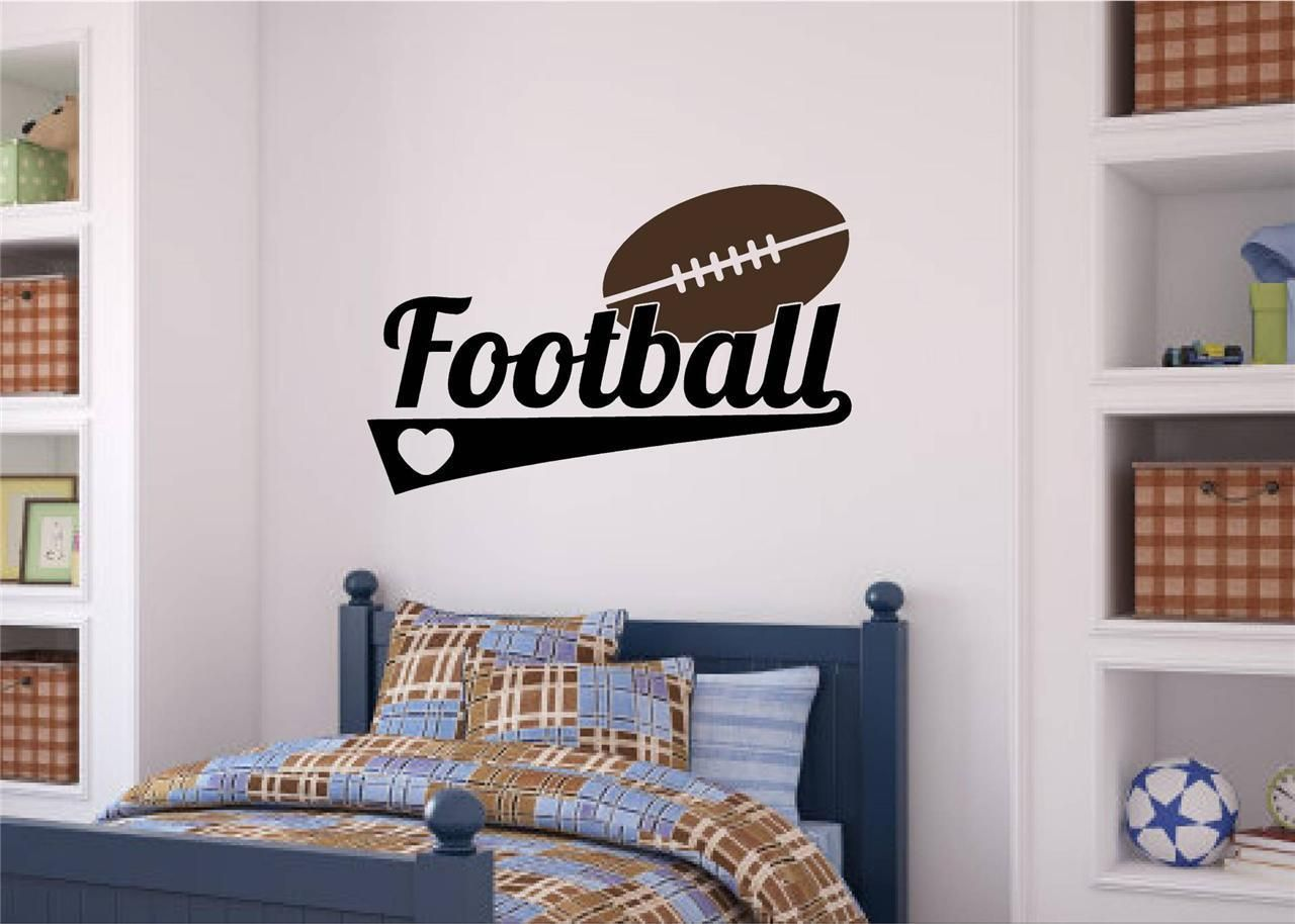 Football sports decor vinyl decal wall stickers words letters boy