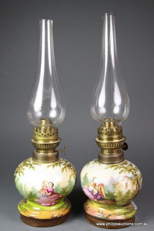 A Pair Of Victorian Painted Ceramic Oil Lamps 19th