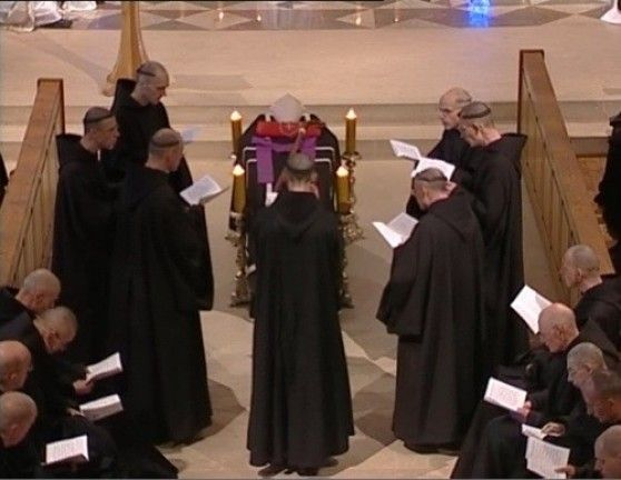 Click Image for VIDEO//Abbey du Barroux~ Holy communion~ Funeral Ceremony--a selection from the solemn liturgy of the Mass for the dead, (Dom Gérard C., OSB),Benedictine monastery- Requiem Mass. May everlasting light shine upon them, O Lord, with your Saints forever,...