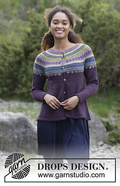 Blueberry Fizz Jacket Free Knitting Pattern | drops design ...