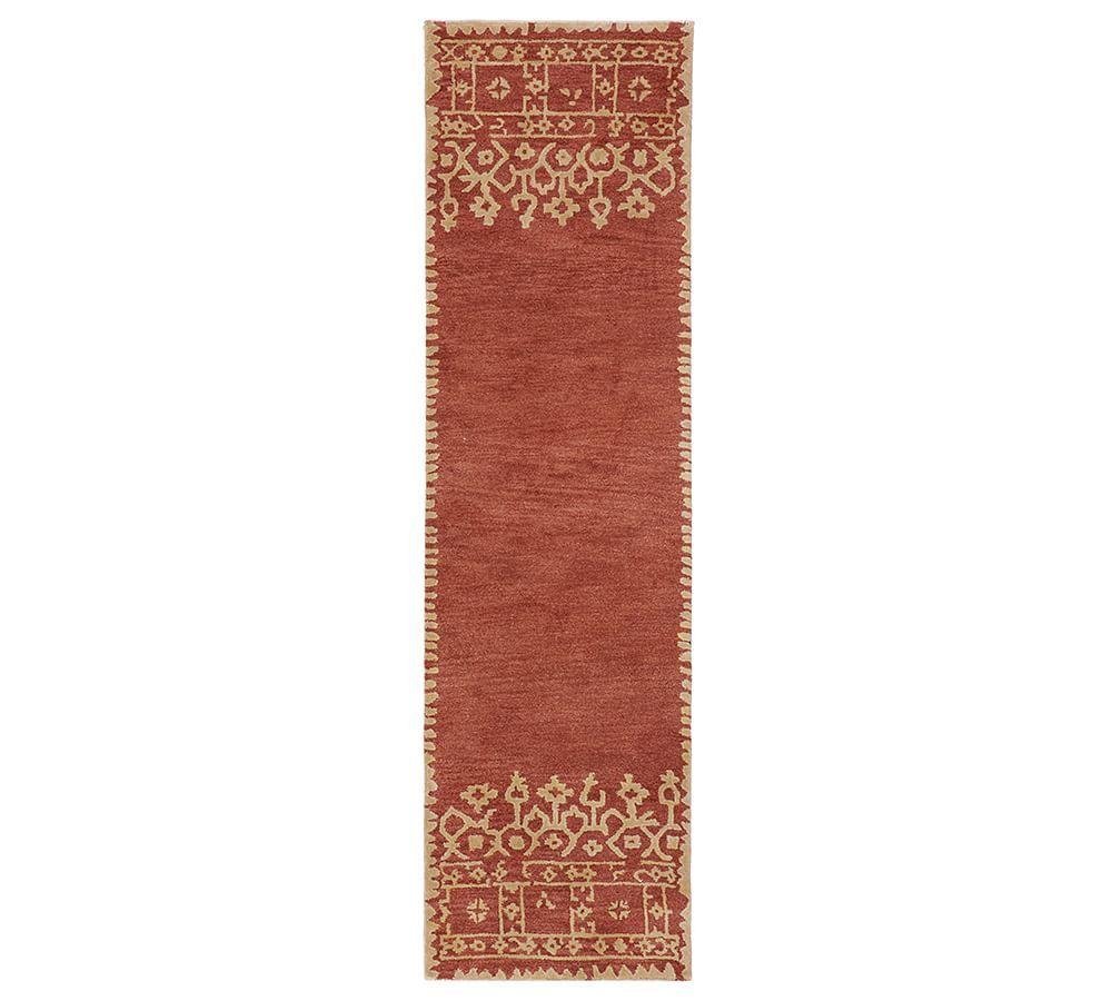 Desa Bordered Wool Rug Terra Cotta Wool Rug Rugs Hand Tufted Rugs