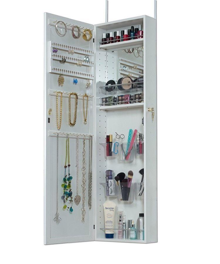 Gentil Make Up Jewelry Armoire Makeup With Mirror Cosmetic Organizer Vanity Over  Door