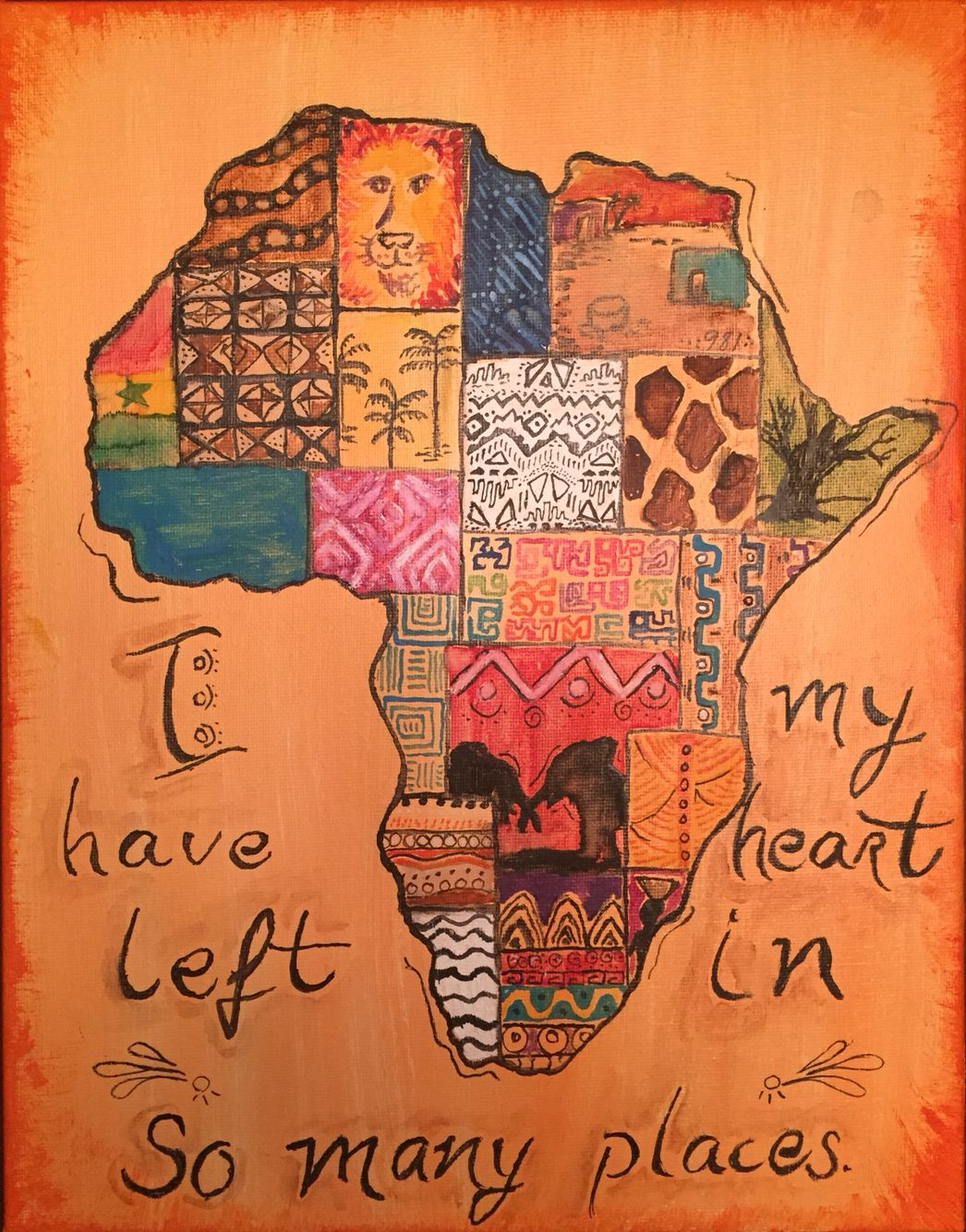 """I've left my heart in so many places.""  Acrylic by Becca Africa with African prints and markings"