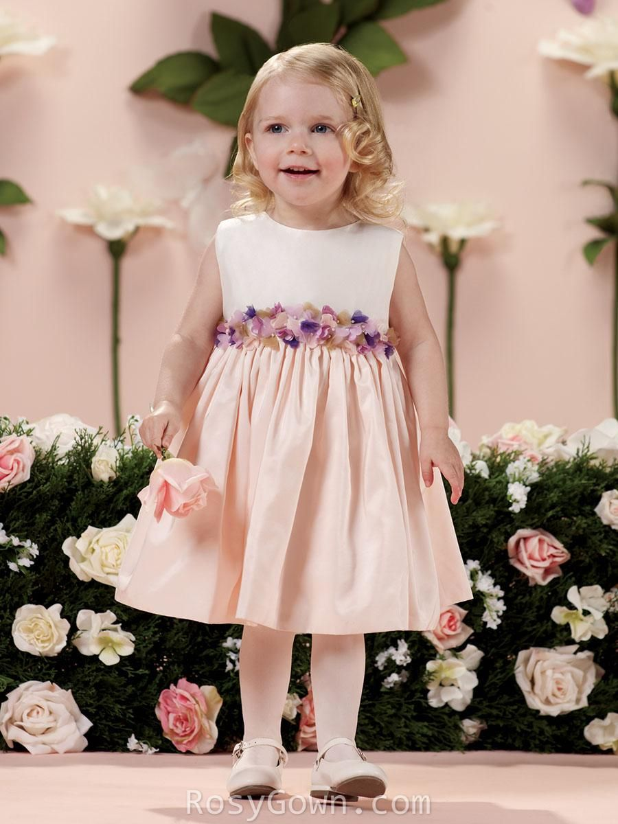 Sleeveless blush taffeta 3d floral cute flower girl dress find this pin and more on bridesmaid dresses ombrellifo Image collections