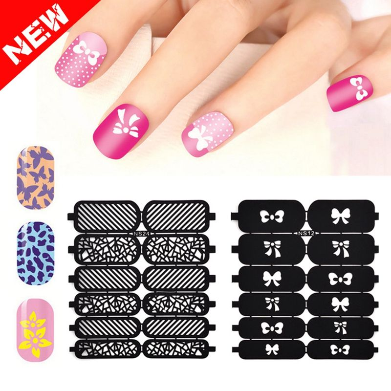 9cm*7.5cm Reusable Nail Stickers Stamping Stencil 35 Designs Choice ...