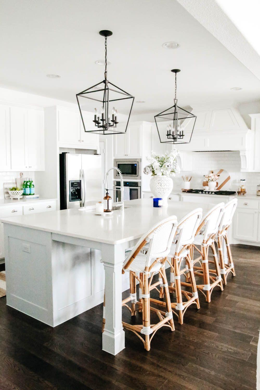 Neo Traditional Brass Lantern Pendants Open Concept Kitchen Makeover Kitc Kitchen Accessories Decor Lighting Fixtures Kitchen Island Rustic Kitchen Decor
