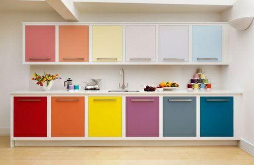 Farbgestaltung In Der Kuche Bunte Schrankturen Kuchen Renovieren Ideen Kuchen Fronten Kuchenfronten