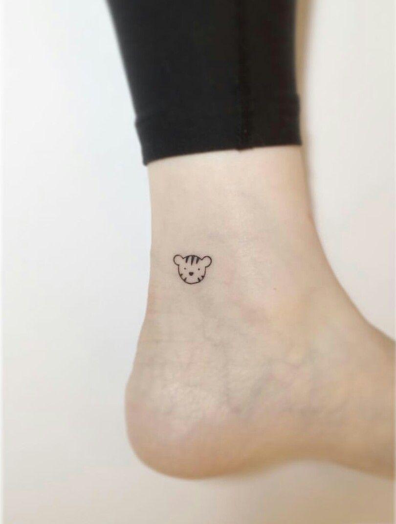 Tiny Cartoon Tiger Tattoo So Cute Ankle Tattoo Tiger Tattoo Small Tattoos