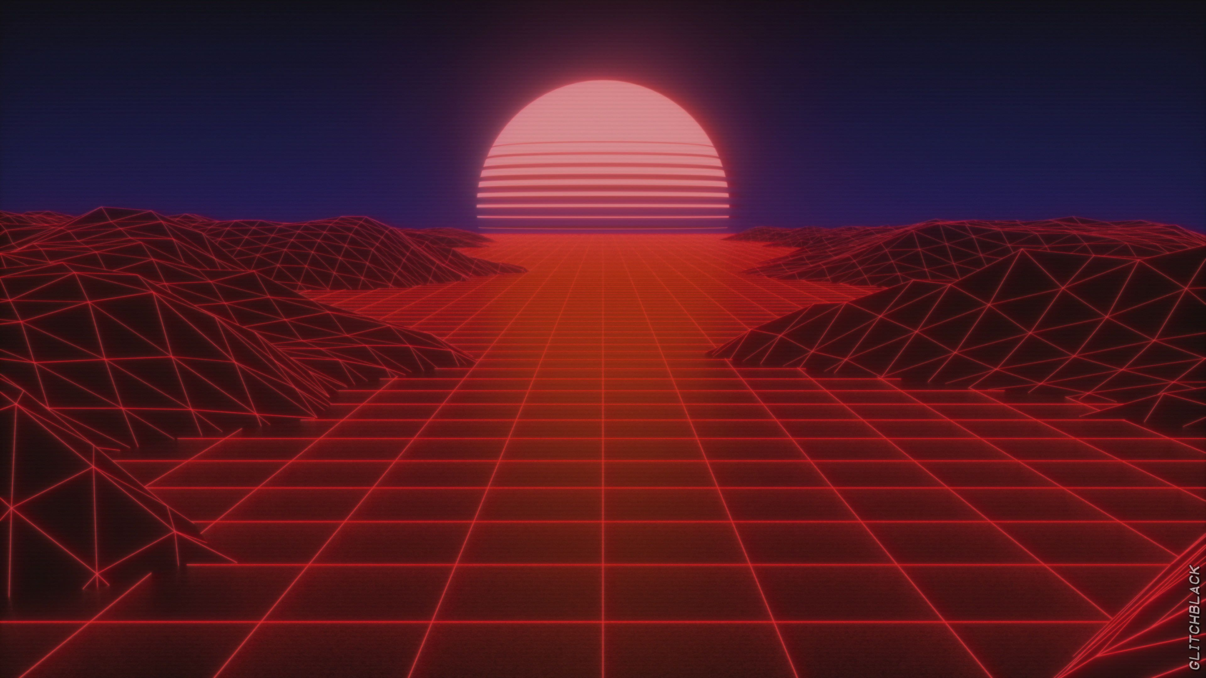 Synthwave Sun Vaporwave 4k Wallpaper Hdwallpaper Desktop Aesthetic Wallpapers Glitch Wallpaper Synthwave