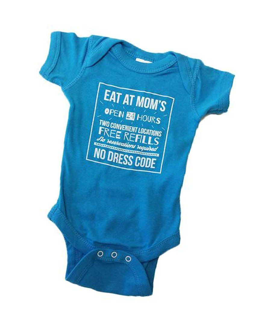 31960e653bd0c Eat At Mom s Baby Onesie in Blue Raspberry