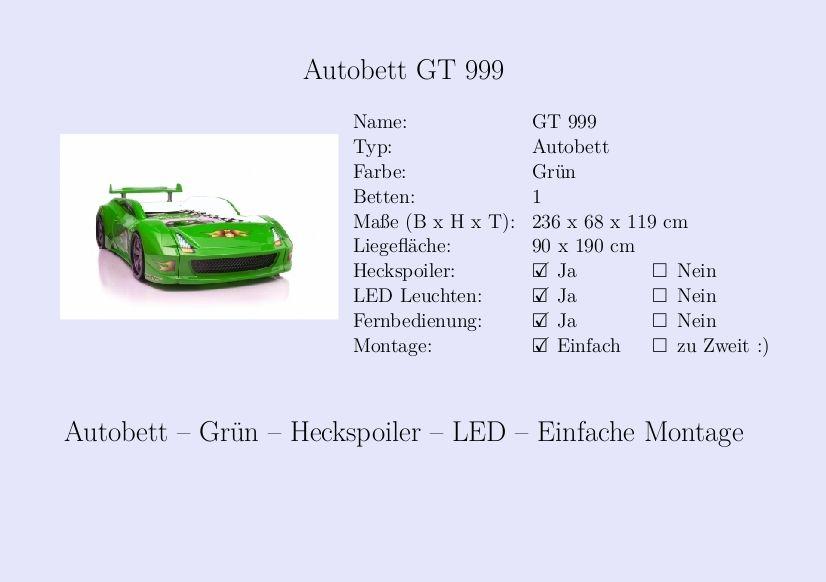Kinderbett auto grün  Kinderbett #Jungs #Auto #Autobett #Grün #Heckspoiler | Steckbrief ...