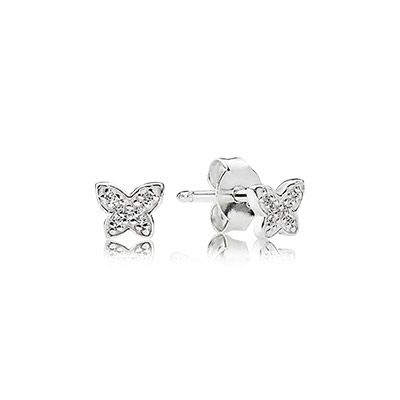 Butterfly silver stud earrings with cubic zirconia