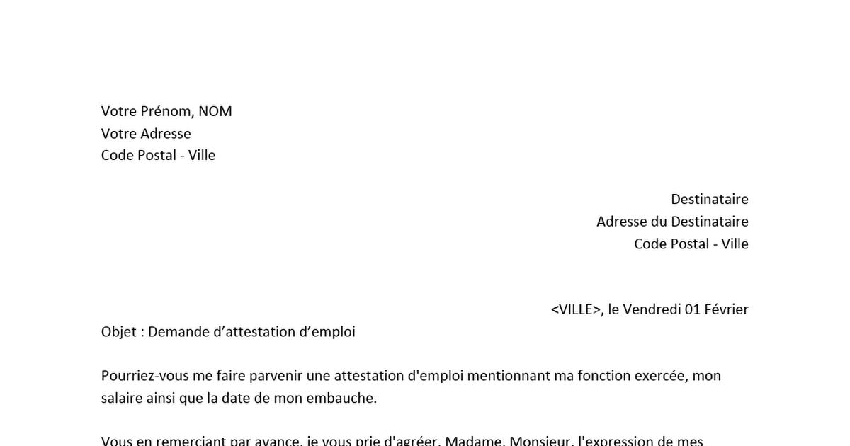 Lettre De Demande D Attestation D Emploi Docx Attestation