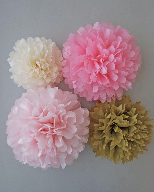 pink gold tissue paper pom poms 4 piece by prettywithsprinkles jacs bridal shower. Black Bedroom Furniture Sets. Home Design Ideas