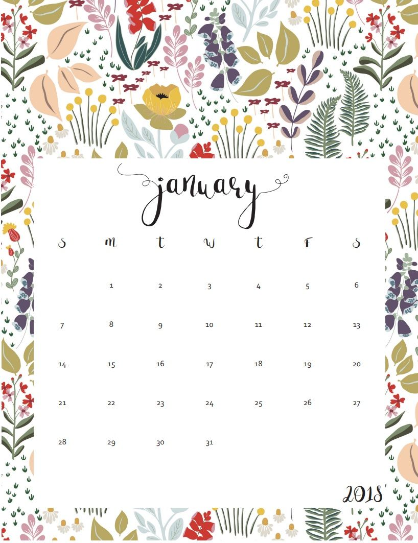 2018 Free Printable January Calendar Maxcalendars Pinterest