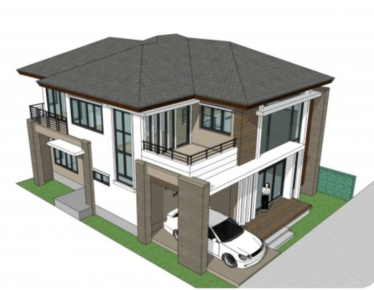 Home Design 11x15m With 4 Bedrooms Home Design With Plan Denah Desain Rumah Desain Rumah Modern Rumah Indah