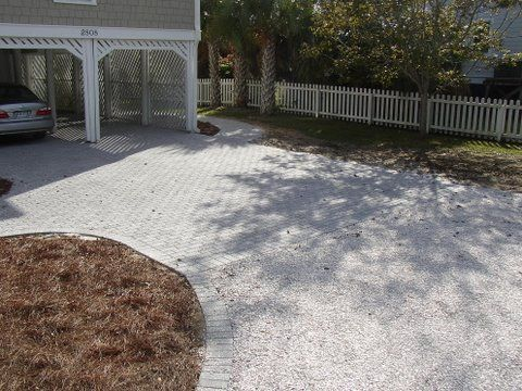 100 Pervious Driveway Crushed Oyster Shell With Tabby Paver Borders