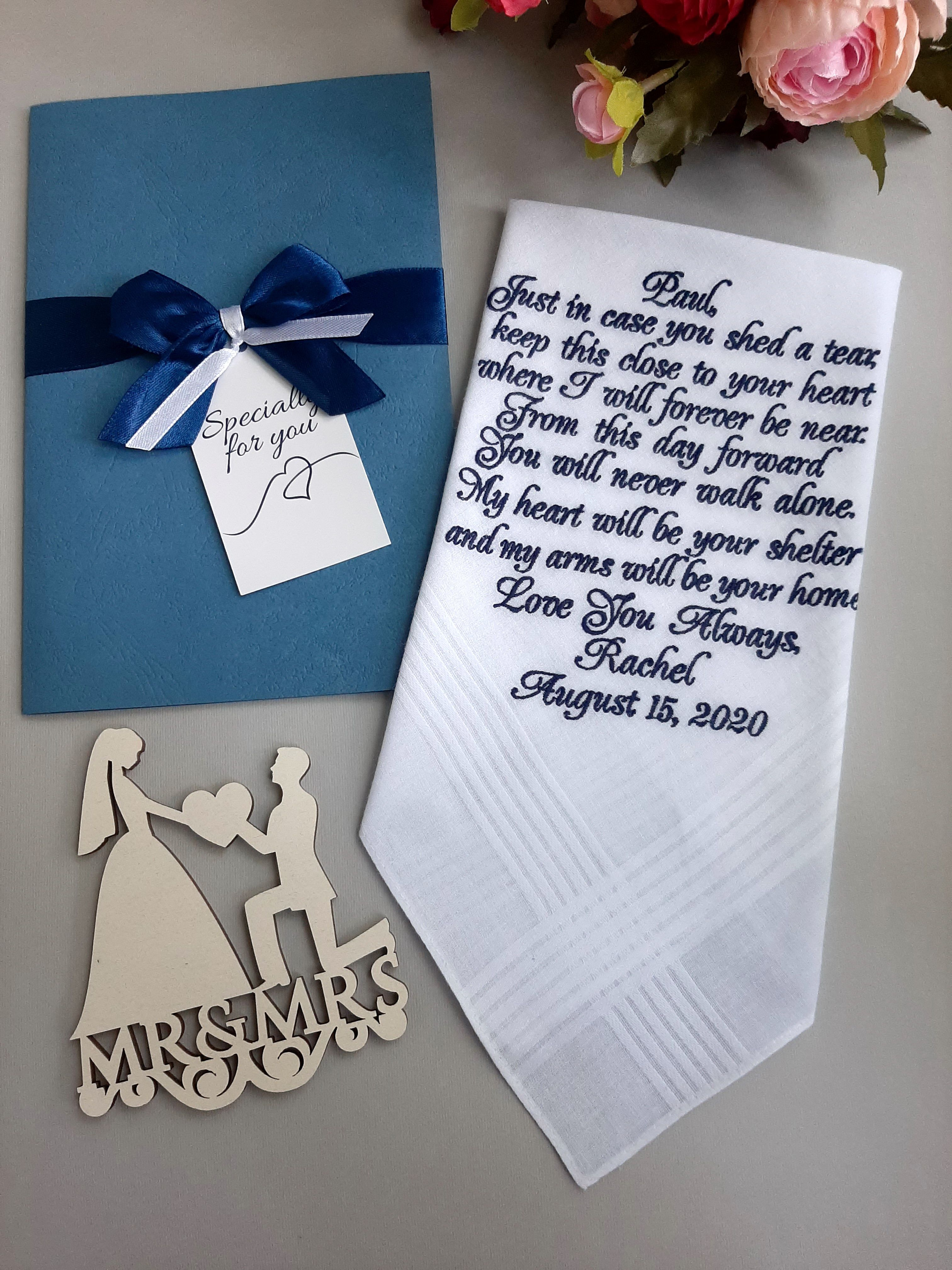 Wedding Hankerchief FREE Gift Cases Favors Mother of the Groom Accessories Gifts Wedding Handkerchief PRINTED From Bride Gift