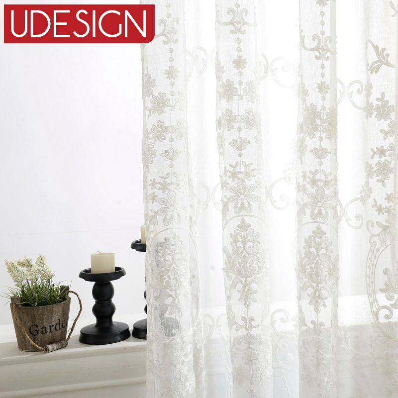 Find More Curtains Information About European White Embroidered Voile Bedroom Sheer For Living Room