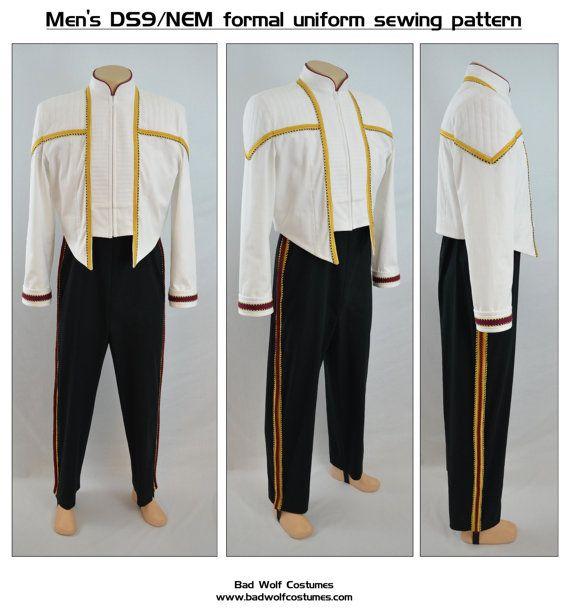 Starfleet admiral uniform men/'s DS9 Star Trek Sewing Pattern Bundle NEM