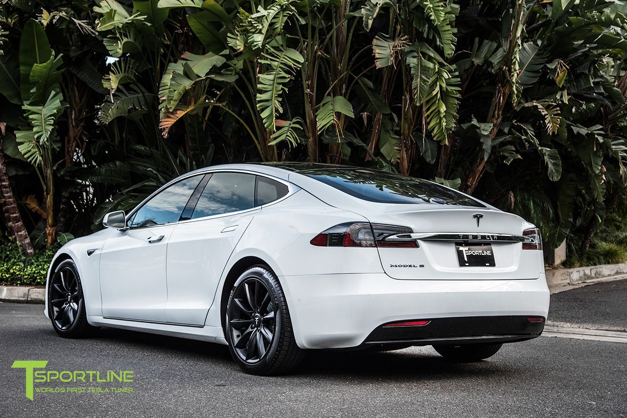 Pearl White Tesla Model S With 19 Inch Matte Black Rims By T Sportline Tesla Model S White Tesla Model S Tesla Model S Black