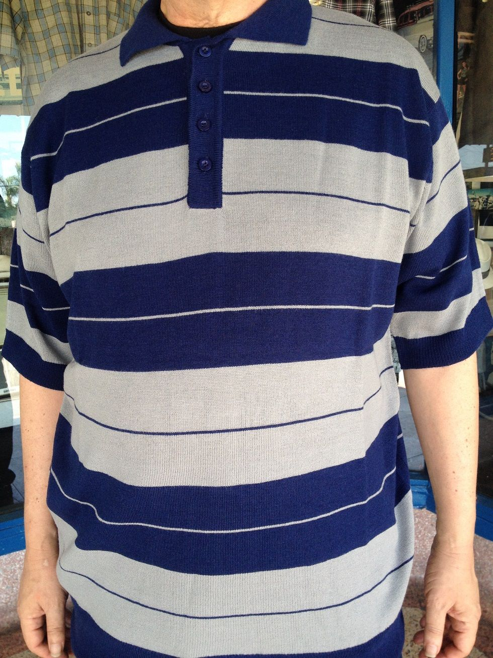 reputable site 98ce7 b2e79 Striped Charlie Brown cholo polo knit acrylic shirts, color navy blue with  gray, by Lowrider. They are the classic bumblebee style shirts worn in  barrios ...