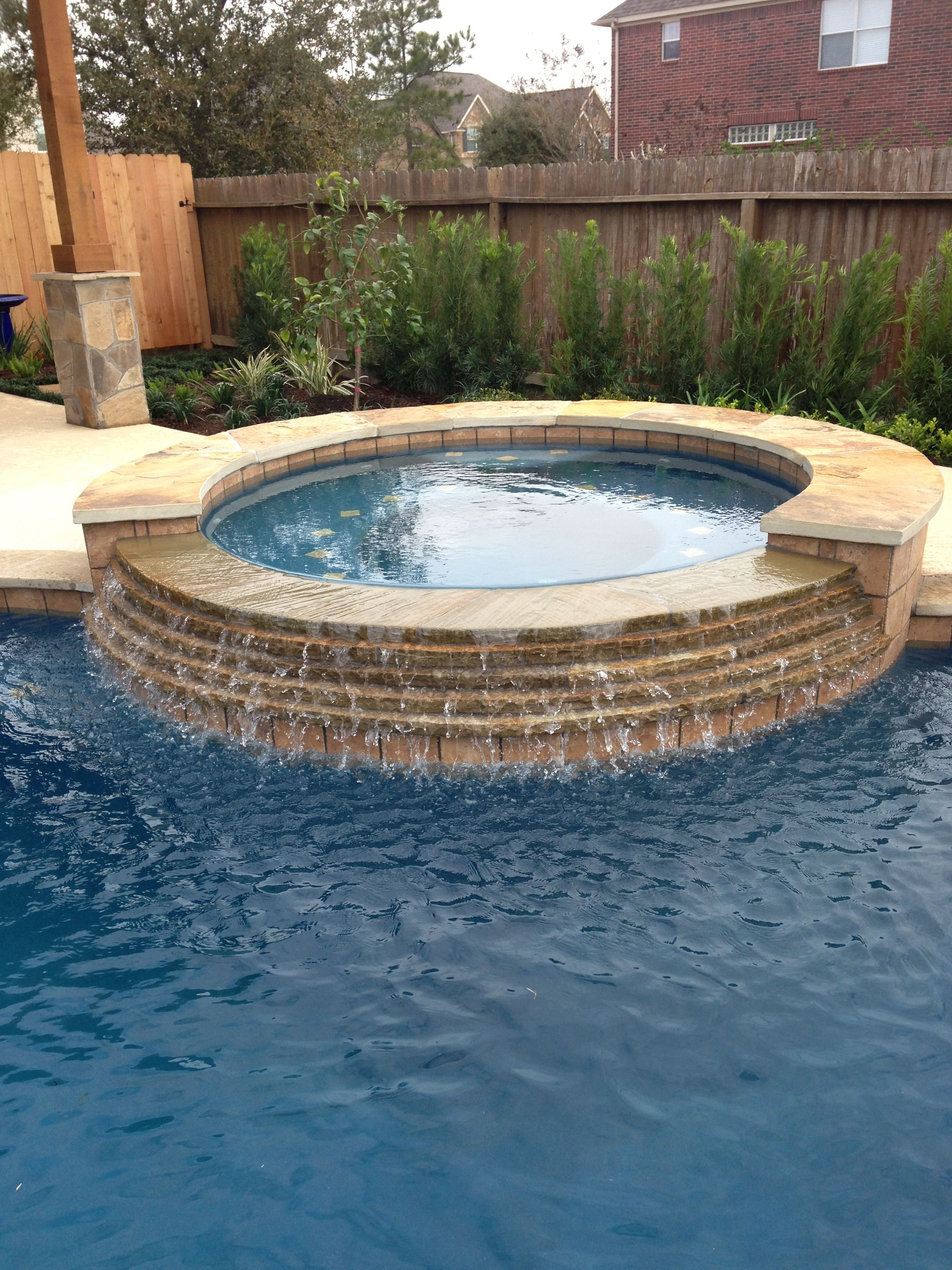 Inground Swimming Pool/Stacked Stone Spa Spillway Custom Pools, Pool  Designs, Pool Spa