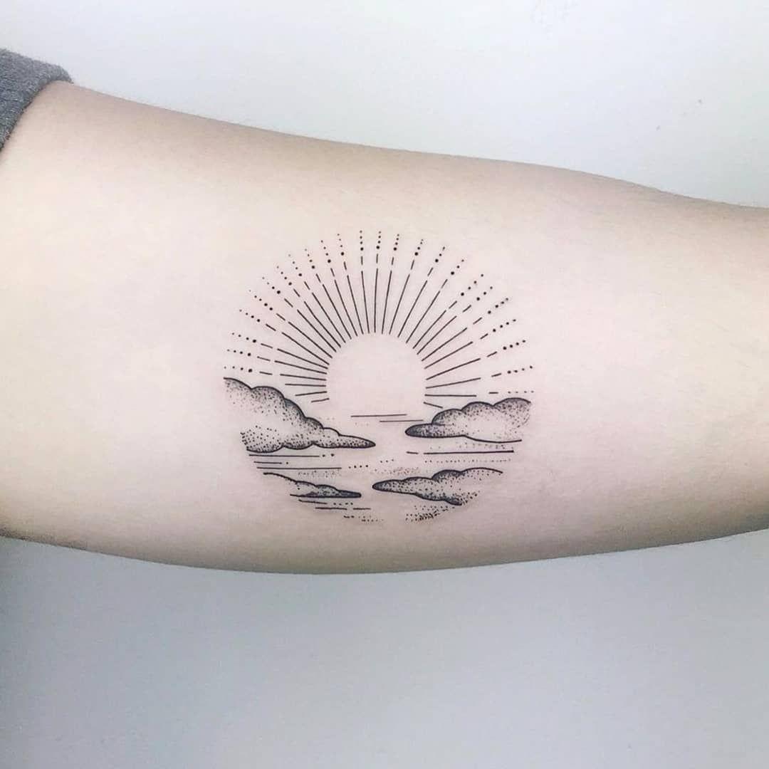 Circular Sunset Tattoo Sunset Tattoos Sun Tattoos Tattoos