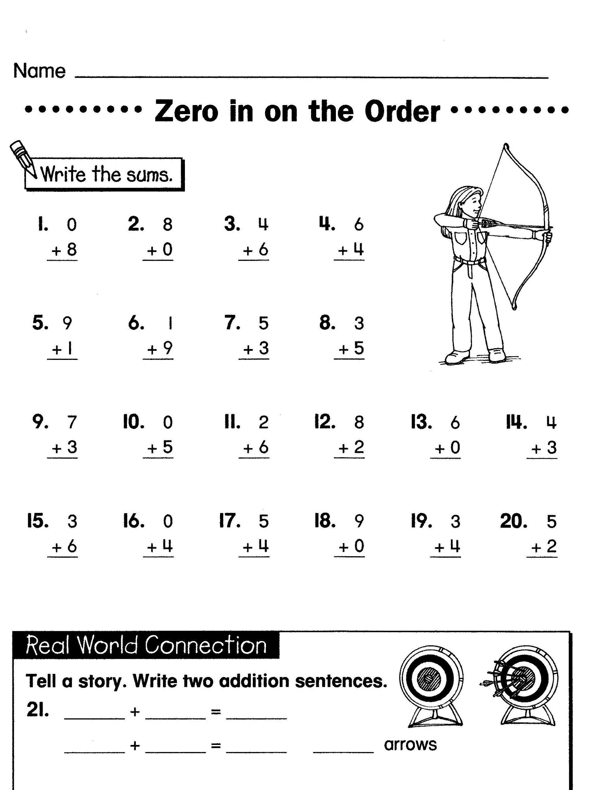 Fun Elementary School Math Worksheet