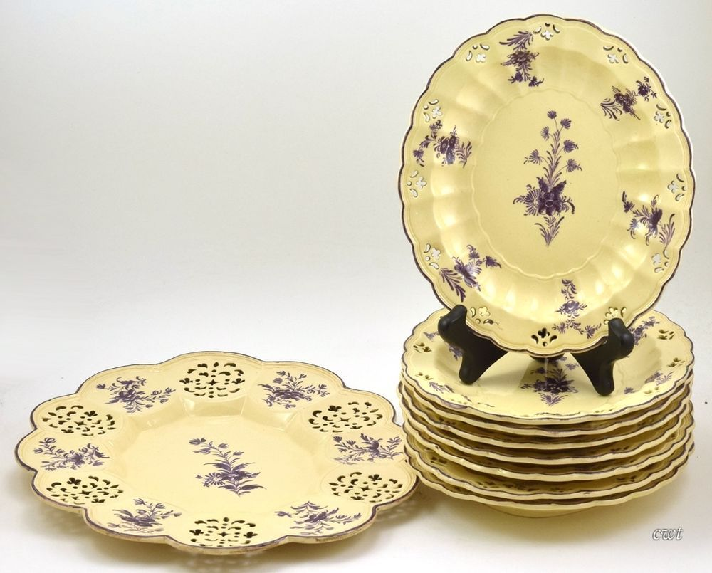 Antique 1780-1810 Staffordshire 9 pc Bowls & Tray Buff & Purple Flowers