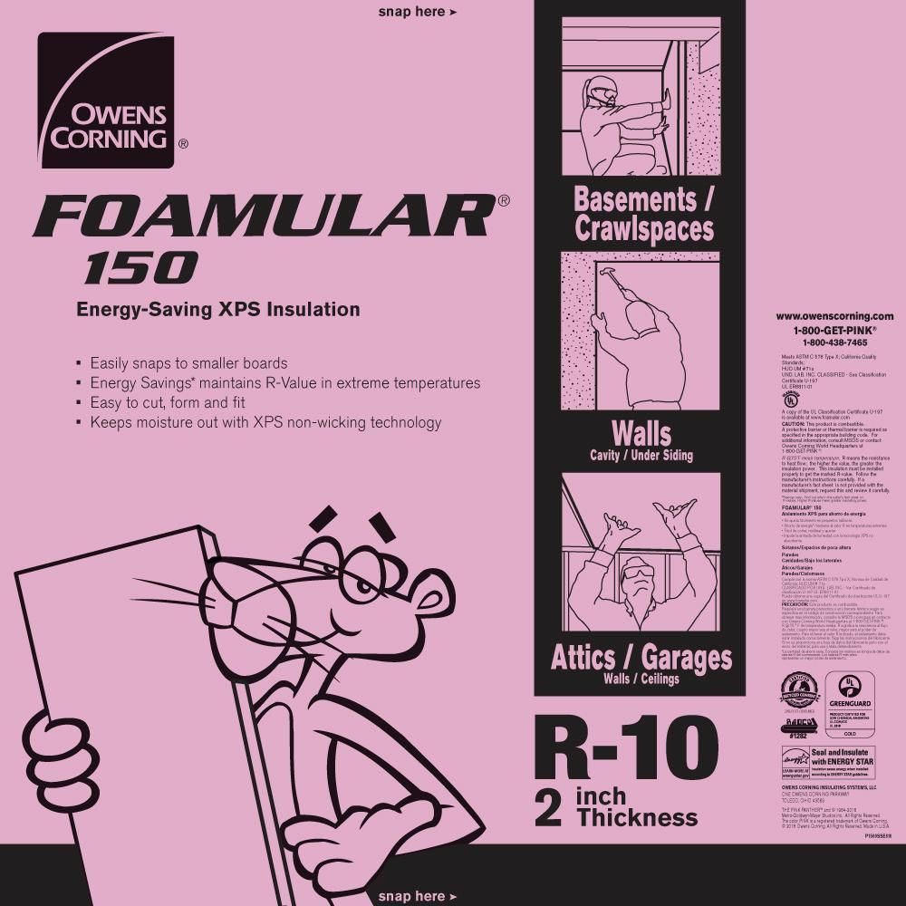Owens Corning Foamular 150 2 In X 4 Ft X 8 Ft R 10 Scored Squared Edge Rigid Foa Foam Insulation Board Rigid Foam Insulation Extruded Polystyrene Insulation