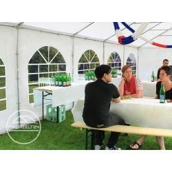 Photo of 6×6 m Partyzelt, Pvc-plane 500 g/m², mit Bodenrahmen, feuersicher weiß Gartenzelt, Festzelt, Pavillo