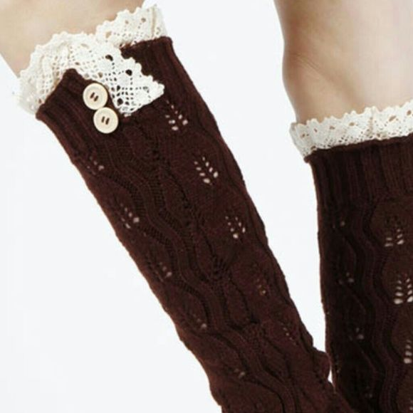 KNITTED LEG WARMERS BROWN WITH LACE TOP AND BUTTON Accessories