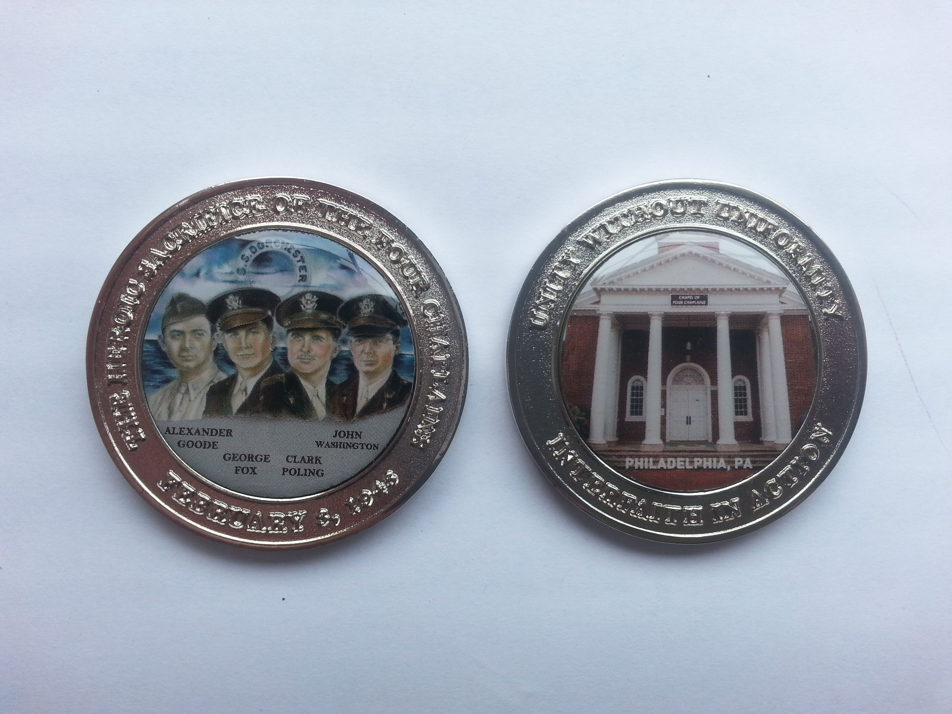 Four Chaplains Challenge Coin - available for sale $20 each