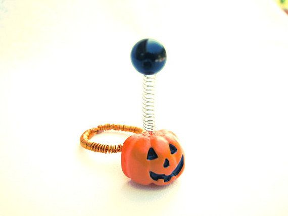 Fun and funky Pumpkin head Ring for Halloween complete with a springy bobble bead.    Pumpkin Ring Halloween Funky Spooky Jack o by BitsOffTheBeach, $12.00